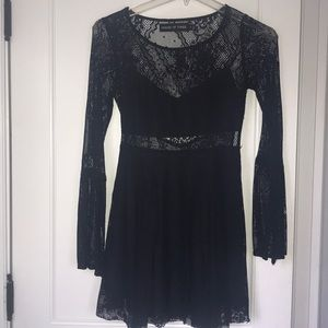 LF House of Three Black Lace Two-Piece Dress